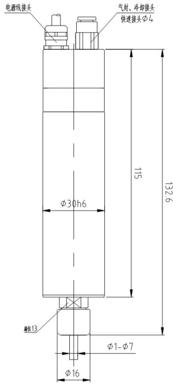 类高速微型电主轴,最高转速达60000rpm,内置高性能永磁同步电机结构